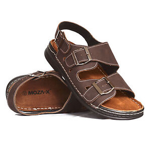 Mens-Leather-Casual-Walking-Summer-Beach-Jesus-Mules-Buckle-Sandals-Shoes-Size