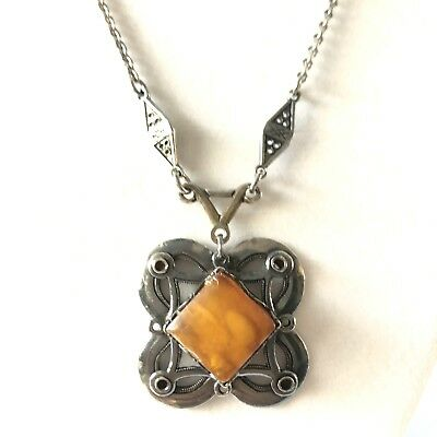 "Solid Sterling Silver Sun Spangled Amber Square Pendant & 18"" Necklace,   523 Amber Sun Amber Necklace"