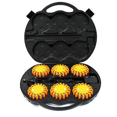 6pc Rechargable LED Safety Flare Emergency Warning Disc Light Roadside Beacon