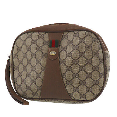 GUCCI GG Plus Web Stripe Clutch Pouch Bag Brown PVC Italy Vintage Auth #OO141 O