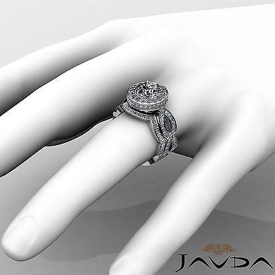 Cross Shank Circa Halo Round Diamond Engagement Pave Set Ring GIA I SI1 2.8 Ct 4
