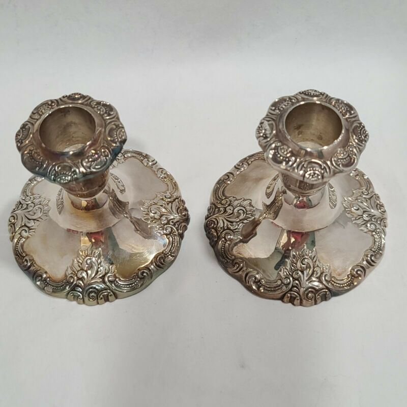 Baroque By Wallace Pair Of Silverplate Candleholders 750 Vintage Patina
