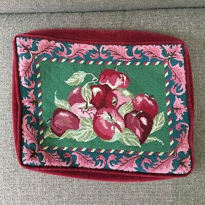 Vtg Needlepoint Pillow Cushion Cover Velvet Rectangle Red Apples Jacobean Fruit