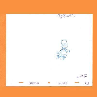 - THE SIMPSONS - BART -  Production Animation Cel Drawing ORIGINAL w/ NOTATIONS