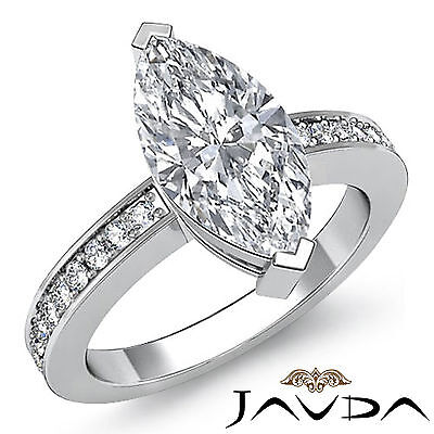 Brilliant Cut Marquise Diamond Engagement Ring GIA H SI1 14k White Gold 1.25 ct