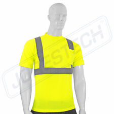 Hi Vis T Shirt ANSI Class II Reflective Safety Lime Short Sleeve HIGH VISIBILITY