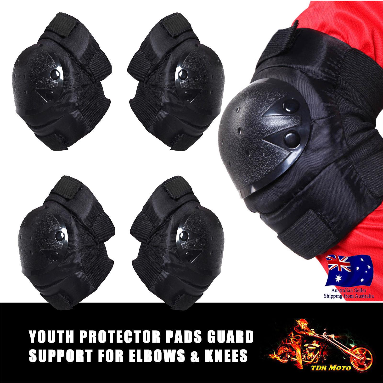 4PC Racing Motocross ATV Knee Shin Elbow Guard Protector Pads For Skiing Cycling