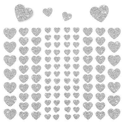 106 Herz Aufkleber mit Glitzer Effekt in Silber Herzen Sticker Scrapbooking Deko