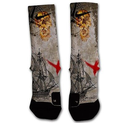 Custom Nike Elite Socks Pirate Skull SZ Large - CONQUEST - Pirate Socks