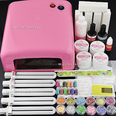 36W Pink UV Gel Nail Curing Lamp & UV Gel Kit & Free Buffer Files Tips Brush 256