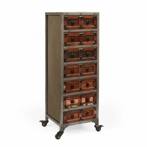 Pausch Handcrafted Boho Wooden 7 Drawer Chest, Natural and Raw Gray Cabinets & Cupboards