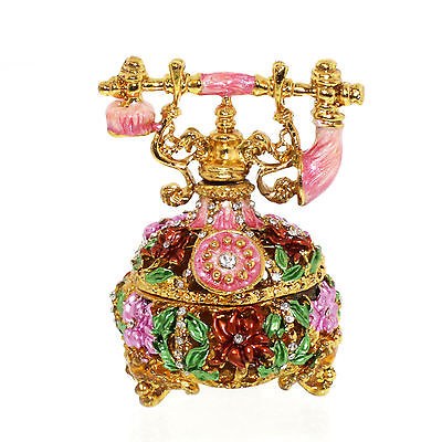 Vintage Telephone Crystal Bejeweled figurine Jewelry Box Trinket Collectibl Gift ()