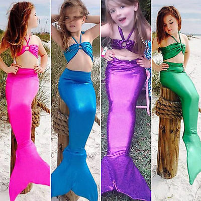 Baby Girl Kid Mermaid Tail Halterner Bikini Set Beach Bathing Suit Fancy - Beach Girl Costume