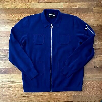Raf Simons X Fred Perry Blue Zip Up 100% Cotton Sweater Jacket Men's Size XL