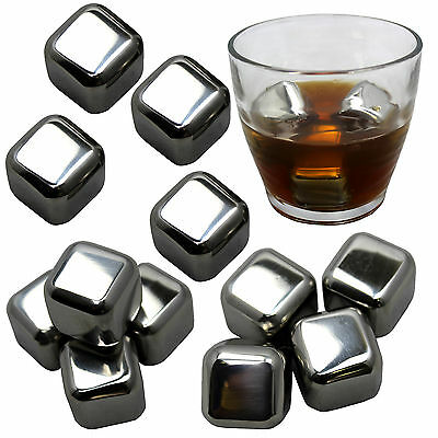 Stainless Steel Chilling Ice Cubes Reusable For Whiskey Wine Beverage, Set of 12