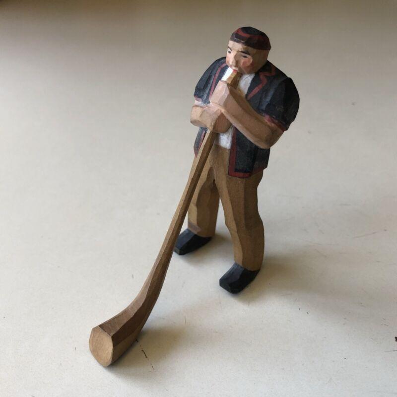 German Alphorn Figurine Tiny Hand carved Polychromed Wooden Figure