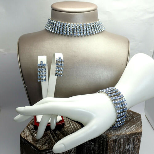 Vintage Radiant Multi Row Blue Rhinestone Necklace Bracelet Earring Parure Set