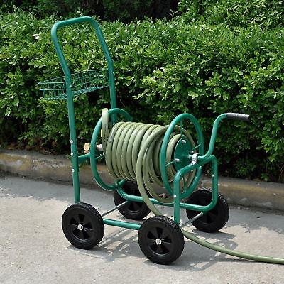 pro.tec® Metall Schlauchwagen 80m Schlauch Trommel Aufroller Gartenschlauch