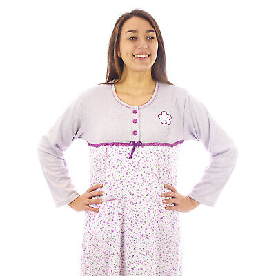 Camicia da notte donna invernale in caldo cotone interlock felpata 7DICAM028