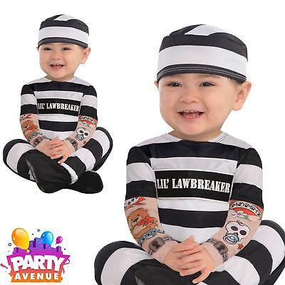 Lil Lawbreaker Baby Toddler Prisoner Jail Fancy Dress Costume - Toddler Jail Costume