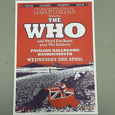 THE WHO - CONCERT POSTER BOURNEMOUTH U.K. WEDNESDAY 2nd APRIL (A3 SIZE)