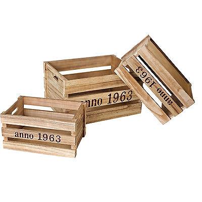 Holzkisten 1963 Wein Kiste retro Obstkiste natur klein ca. 28x19x14 cm  #2637