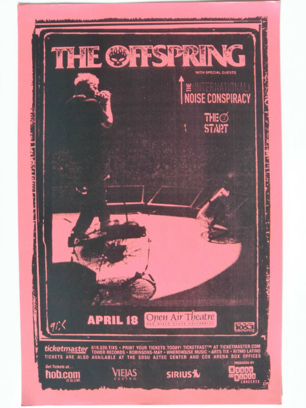 THE OFFSPRING 2004 SAN DIEGO CONCERT TOUR POSTER-Dexter Holland Singing On Stage