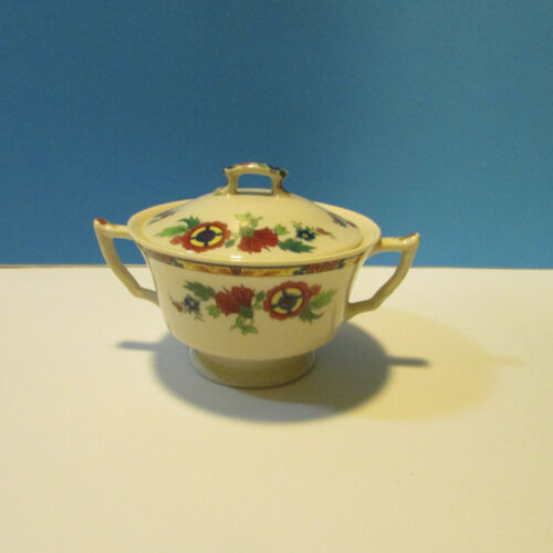 syracuse china old ivory floral sugar bowl with lid