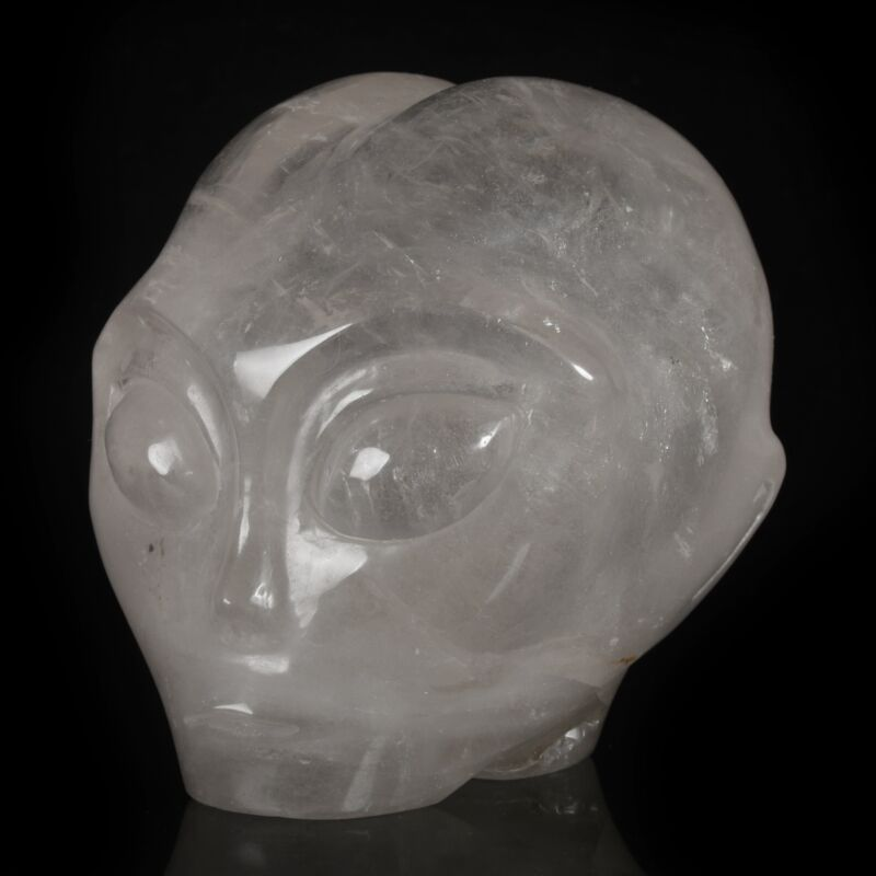 """4.21""""Natural Clear Quartz Crystal   Carved  Starbeing/Alien Carving Collectibles"""