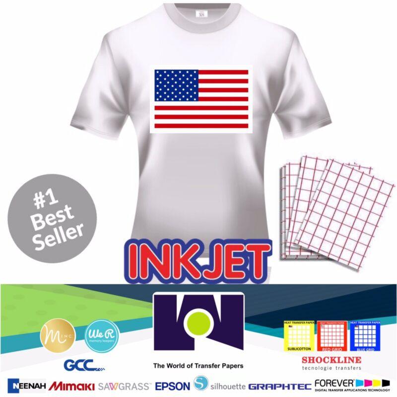 "Iron-on Heat Transfer Paper Light Fabrics - Red Grid 8.5"" x 11"" 25 sheets"
