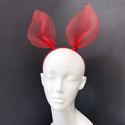 Trendy Red Mesh Rabbit Bunny Ears Headband For Fancy Dress Costume Party  - Red Bunny Ears