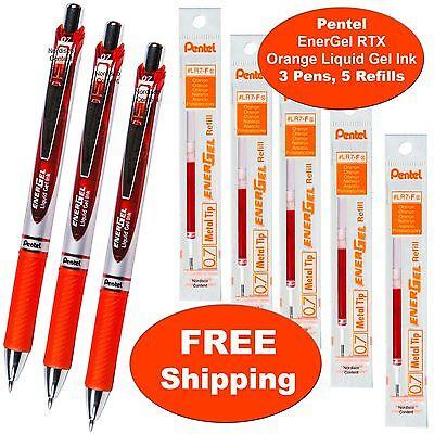Pentel Energel Rtx Orange Liquid Gel Ink 0.7mm 3 Pens With 5 Packs Of Refills