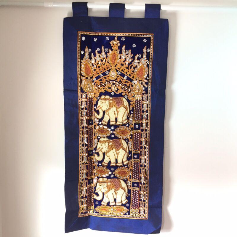 wall hanging vintage thai burmese kalaga tapestry embroidered bead elephant 37