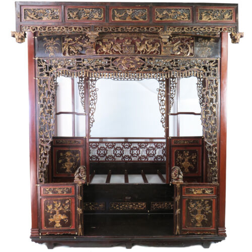 Antique Chinese Intricately Carved Wedding Bed Canopy Opium Bed, Queen Size
