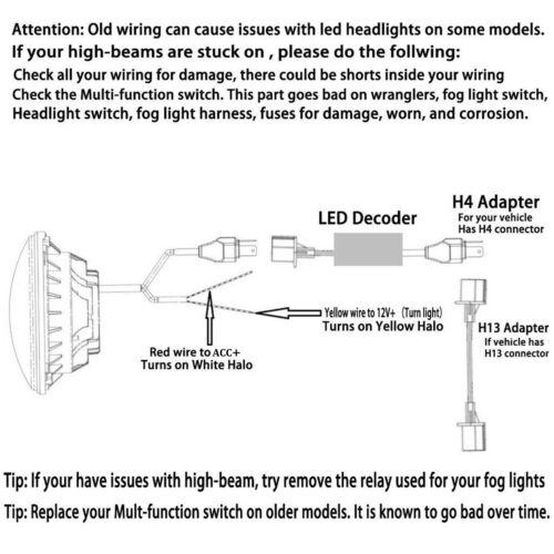 for jeep liberty patriot cj5 7 7 led halo angel eyes headlight h4 rh ebay com Wiring Diagram Symbols HVAC Wiring Diagrams
