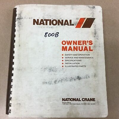 National 839b 856b 875b Truck Crane Service Manual Parts Book Operation Maint.