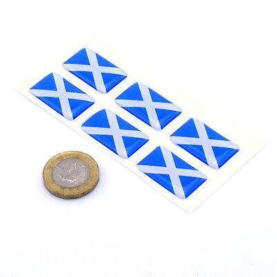 Scotland Flag Domed Gel Stickers Saltire Cross Car Vinyl Universal Decal 25mm x6