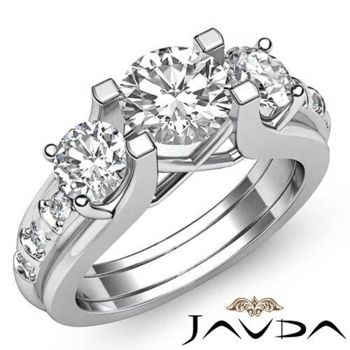 2.5ct Round Prong Set Diamond 3 Stone Women's Engagement Ring GIA F VS2 Platinum