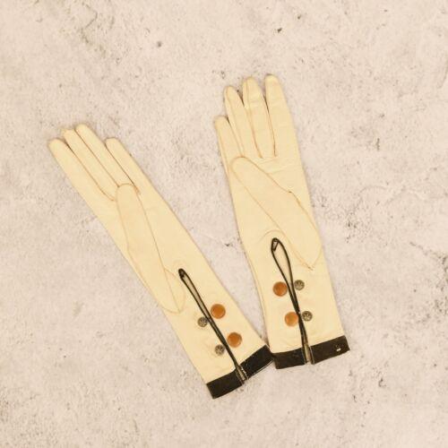 Vintage 1900s French Gant Perrin Ladies Cream Leather Edwardian Dress Gloves