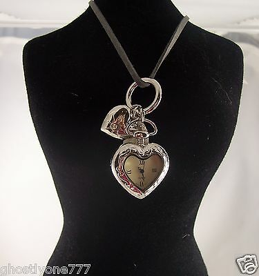 Heart leaf  necklace watch long great gift idea Christmas