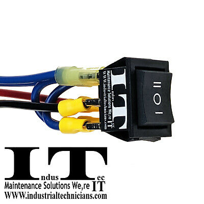 Industec 20a Dc Motor - Polarity Reversing Momentary Rocker Switch 12 Ga 12v 24v