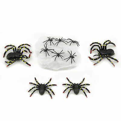 Halloween Plastic Spiders (Black Plastic Toy Spiders Stretchable Web Haunted House Halloween Decor 10)