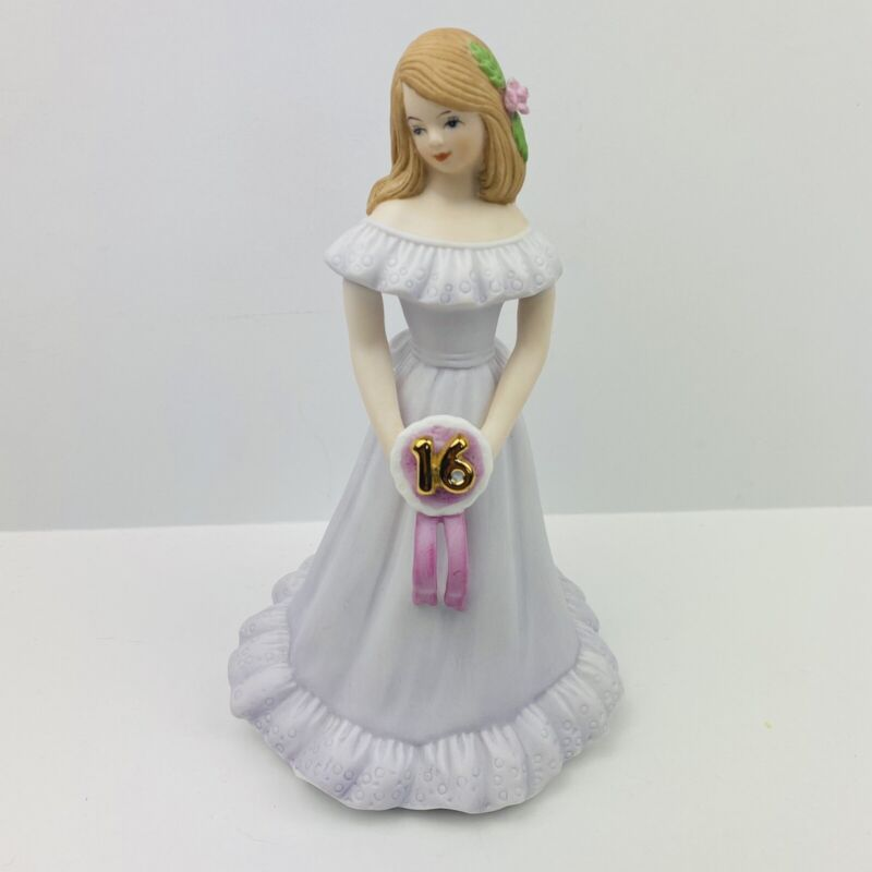 "Enesco Birthday ""Growing Up Girls"" 16 Year Blonde Doll Figurine ~ Music Box"
