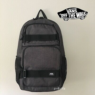 VANS Off the Wall Skates Pack Backpack w/ Skate Board Straps - Heather Black