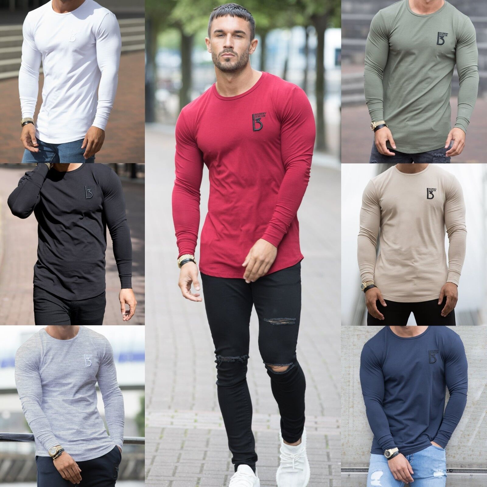 Blue Curved Hem Longline Musclefit T Shirt Tee Tapered Fit Clearance Tremor