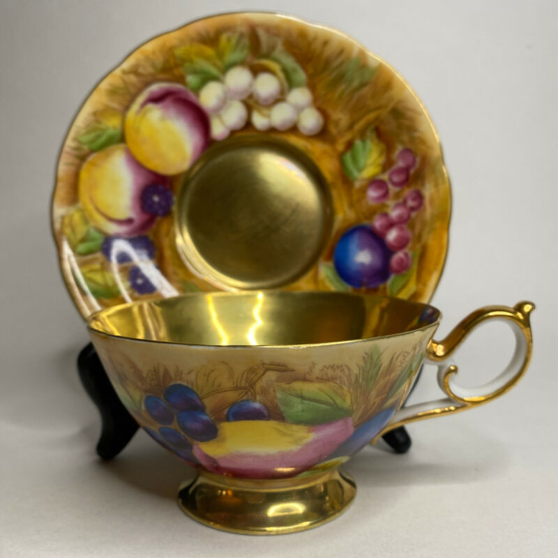 Vintage American Beauty Tea Cup & Saucer Occupied Japan Fruit Orchard Gold