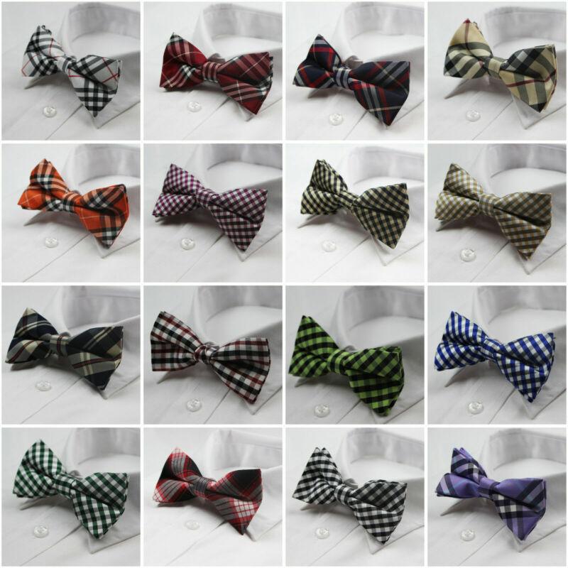 Mens High Quality Cotton Bow Tie Wedding Pre-tied Black Blue White Ties Bowtie
