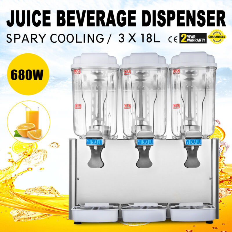 54L JUICE BEVERAGE DISPENSER COLD DRINK REFRIGERATED 14.25 GALLON SOFT DRINKS
