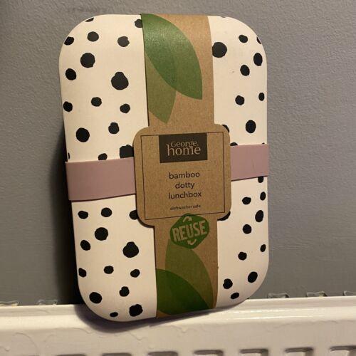 Asda George Bamboo Dotty Lunch Box Environmentally Friendly Home Office Work Box
