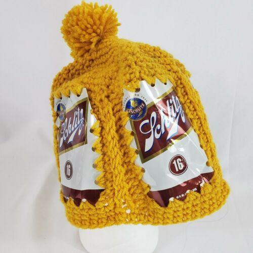 Vintage Crochet Schlitz Beer Can Hat Hand Made Knit Yarn Mustard Yellow